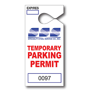 Item: T13052 - Paper Hanging Parking Tag