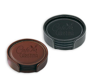 Mi8058 - Vintage Leather Round Coaster Gift Set